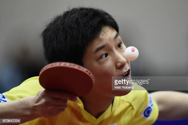 Tomokazu Harimoto of Japan competes against Sangsu Lee of South Korea during the men's semifinal match on day three of the ITTF World Tour LION Japan...