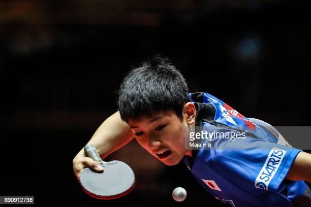 Tomokazu Harimoto of Japan competes during Men Single 1 Round at Table Tennis World Championship at Messe Duesseldorf on May 31 2017 in Dusseldorf...
