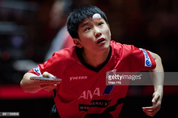 Tomokazu Harimoto of Japan competes during Men Single second round at Table Tennis World Championship at Messe Duesseldorf on June 1 2017 in...