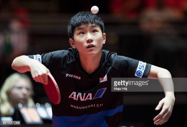 Tomokazu Harimoto of Japan competes during Men's Singles at Table Tennis World Championship at Messe Duesseldorf on June 2 2017 in Dusseldorf Germany