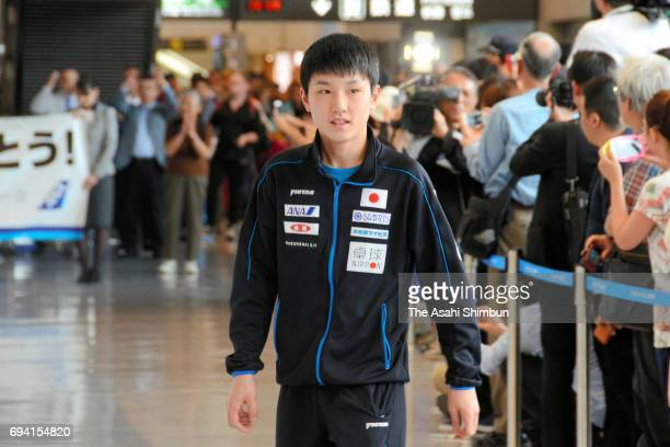 Tomokazu Harimoto of Japan is seen on arrival at Narita International Airport on June 7 2017 in Narita Chiba Japan