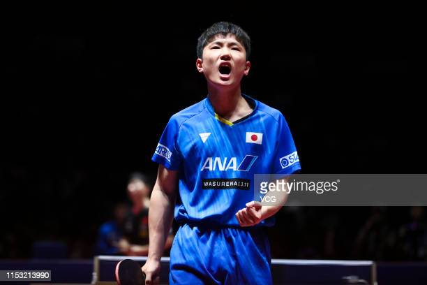 Tomokazu Harimoto of Japan reacts after the Men's Singles semi final match against Ma Long of China on day six of the Seamaster 2019 ITTF World Tour...