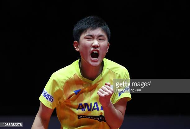 Tomokazu Harimoto of Japan reacts in the Men's Singles Finals against Lin Gaoyuan of China during day four of the World Tour Grand Finals at Namdong...