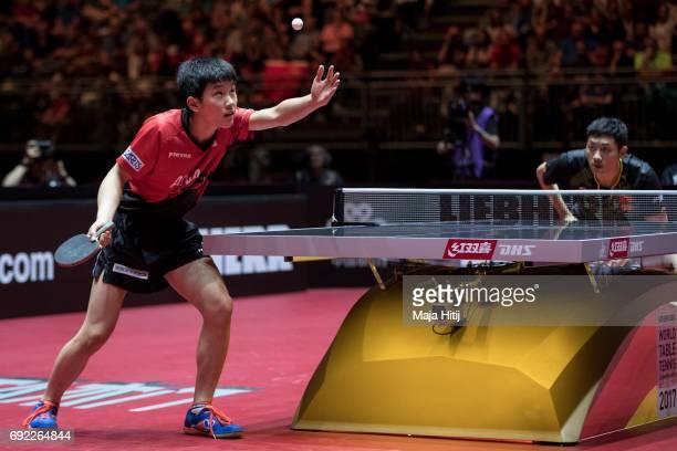 Tomokazu Harimoto of Japan serve during Men's Singles quarter Final against Xin Xu of China at Table Tennis World Championship at at Messe...