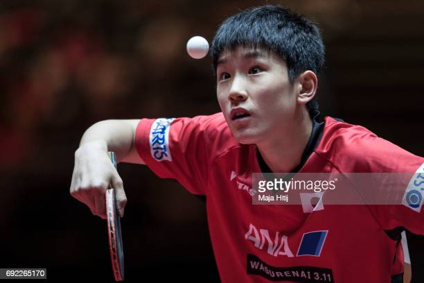 Tomokazu Harimoto of Japan serves during Men's Singles quarter Final at Table Tennis World Championship at at Messe Duesseldorf on June 4 2017 in...