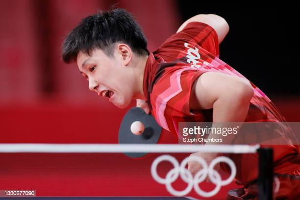 Tomokazu Harimoto of Team Japan in action during his Men's Singles Round 3 match on day three of the Tokyo 2020 Olympic Games at Tokyo Metropolitan...
