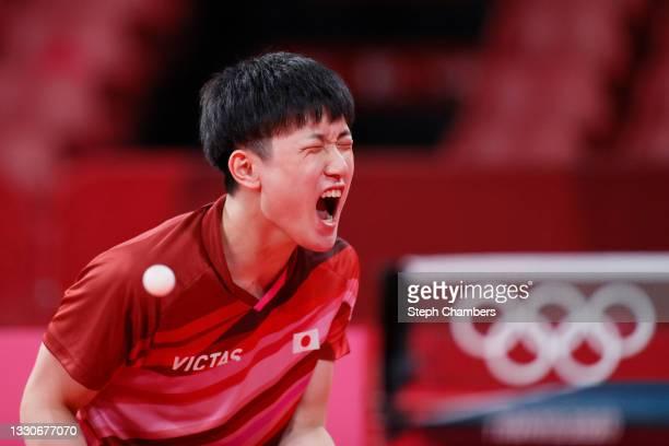 Tomokazu Harimoto of Team Japan reacts during his Men's Singles Round 3 match on day three of the Tokyo 2020 Olympic Games at Tokyo Metropolitan...