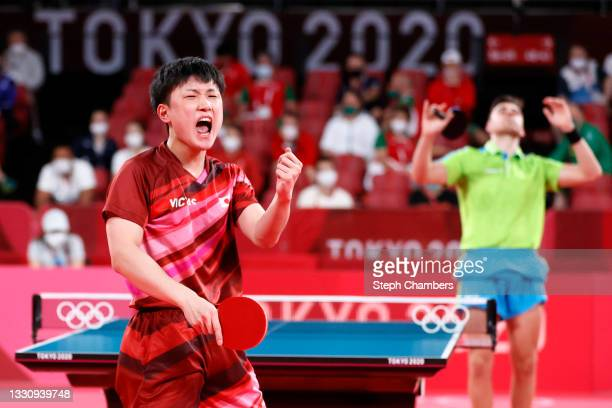Tomokazu Harimoto of Team Japan reacts during his Men's Singles Round of 16 match on day four of the Tokyo 2020 Olympic Games at Tokyo Metropolitan...