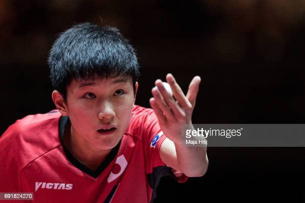 Tomokazu Harimoto serves during Men's Singles eightfinals at Table Tennis World Championship at Messe Duesseldorf on June 3 2017 in Dusseldorf Germany