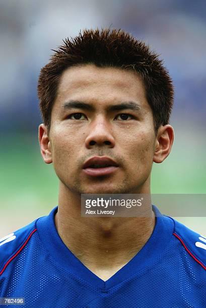 Tomokazu Myojin of Japan before the Japan v Tunisia Group H World Cup Group Stage match played at the OsakaNagai Stadium Osaka Japan on June 14 2002...