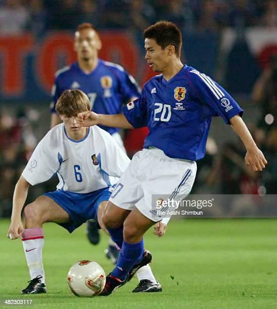 Tomokazu Myojin of Japan in action during the FIFA World Cup Korea/Japan Group H match between Japan and Russia at the International Stadium Yokohama...