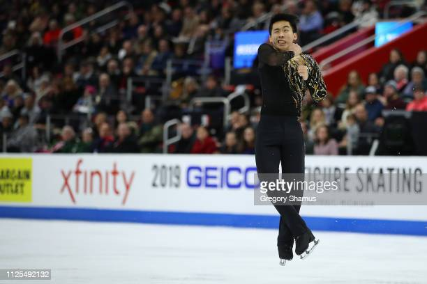 Tomoki Hiwatashi competes in the men's championship free skate during the 2019 US Figure Skating Championships at Little Caesars Arena on January 27...