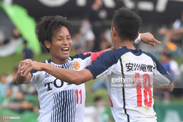 Tomoki Ikemoto of Giravanz Kitakyushu celebrates the second goal the JLeague J3 match between SC Sagamihara and Giravanz Kitakyushu at Sagami Gion...