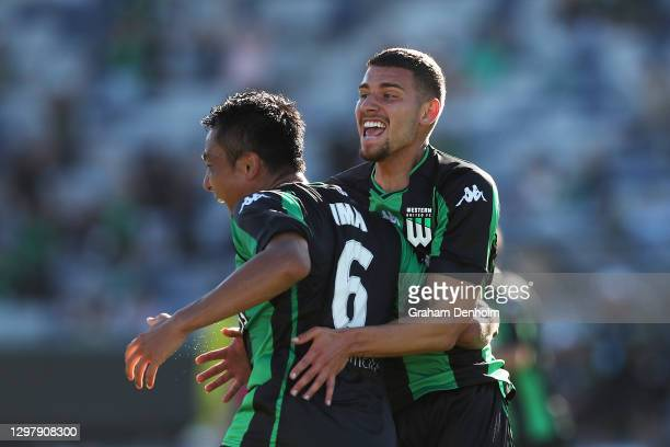 Tomoki Imai of Western United celebrates his goal during the A-League match between Western United and the Perth Glory at GMHBA Stadium, on January...