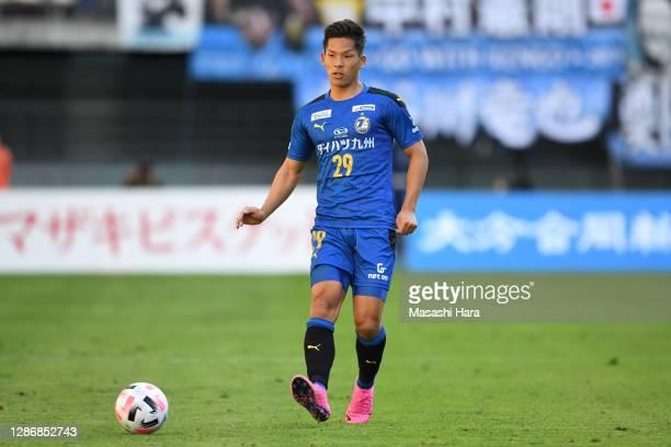 Tomoki Iwata of Oita Trinita in action during the J.League Meiji Yasuda J1 match between Oita Trinita and Kawasaki Frontale at Showa Denko Dome on...