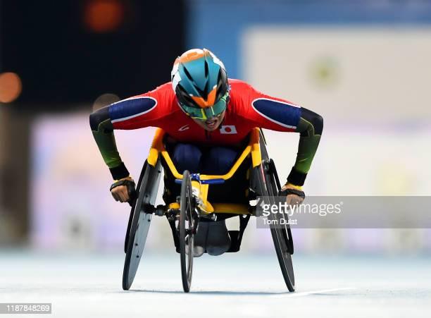 Tomoki Sato of Japan wins the Men's 1500m T52 final race on Day Nine of the IPC World Para Athletics Championships 2019 Dubai on November 15, 2019 in...