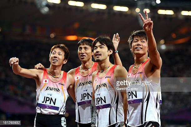 Tomoki Tagawa Keita Sato Toru Suzuki and Jun Haruta of Japan pose after the Men's 4x100m relay T42/T46 Final on day 7 of the London 2012 Paralympic...