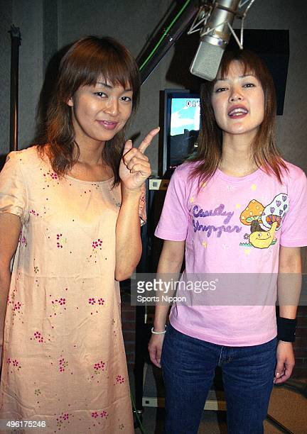 Tomoko Nakajima and Nahomi Matsushima of comedy duo Othello at the dubbing studio for the 'Cybersix' on August 9 2000 in Tokyo Japan