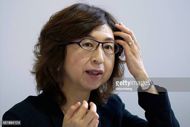 Tomoko Namba, founder and board member of DeNA Co., speaks at a news conference at the University of Tokyo's Institute of Medical Science in Tokyo,...
