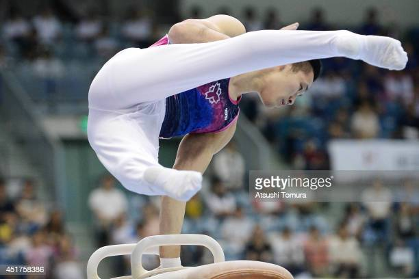 Tomomasa Hasegawa of Japan competes on the Pommel Horse during the 68th All Japan Gymnastics Apparatus Championships on July 6 2014 in Chiba Japan