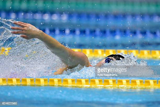 Tomomi Aoki of Japan competes in 4x100m Medley Relay final during the 10th Asian Swimming Championships 2016 at the Tokyo Tatsumi International...