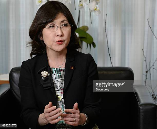 Tomomi Inada chairwoman of the Policy Research Council at the Liberal Democratic Party of Japan speaks during an interview in Tokyo Japan on Tuesday...