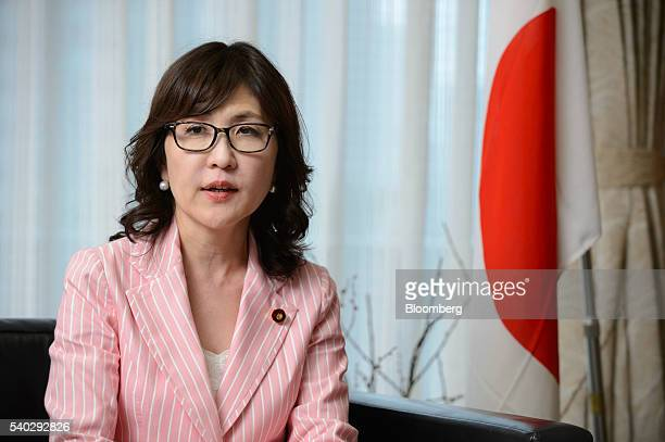 Tomomi Inada chairwoman of the Policy Research Council of the Liberal Democratic Party of Japan speaks during an interview in Tokyo Japan on...