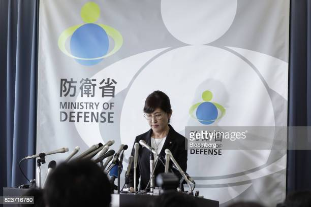 Tomomi Inada Japan's defense minister attends a news conference at the Ministry of Defense in Tokyo Japan on Friday July 28 2017 Inadaquit over a...