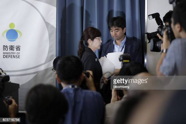 Tomomi Inada Japan's defense minister center leaves a news conference at the Ministry of Defense in Tokyo Japan on Friday July 28 2017 Inadaquit...