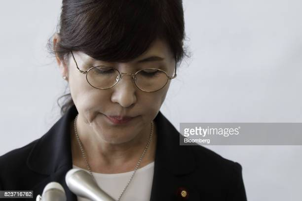 Tomomi Inada Japan's defense minister pauses during a news conference at the Ministry of Defense in Tokyo Japan on Friday July 28 2017 Inadaquit...