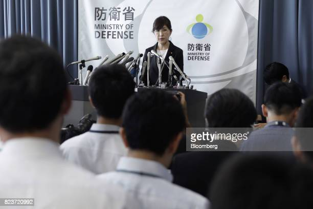 Tomomi Inada Japan's defense minister speaks during a news conference at the Ministry of Defense in Tokyo Japan on Friday July 28 2017 Inadaquit...