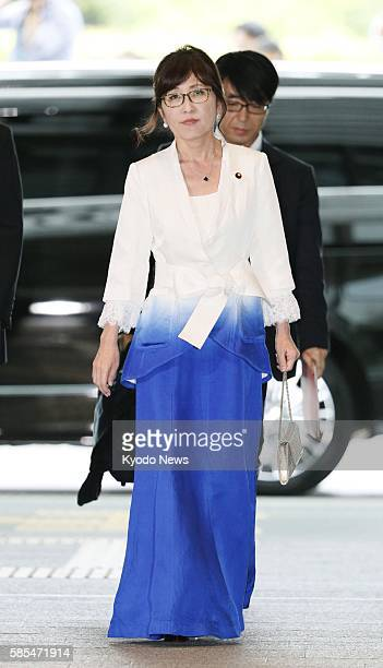 Tomomi Inada newly appointed as defense minister in a Cabinet reshuffle is seen at the prime minister's office in Tokyo on Aug 3 2016 after getting...