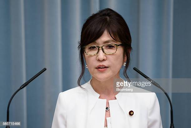 Tomomi Inada newly appointed defense minister of Japan speaks during a press conference at the official residence of Japan's Prime Minister Shinzo...