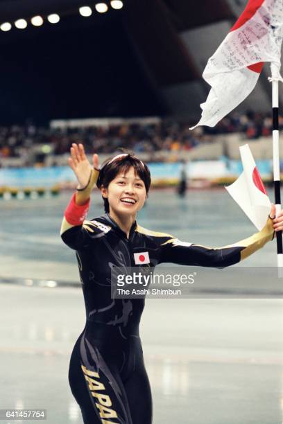 Tomomi Okazaki of Japan celebrates winning the bronze medal after competing in the second run of the Speed Skating Women's 500m during day seven of...