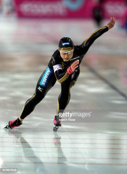 Tomomi Okazaki of Japan competes in the women 500 m Division A race during the Essent ISU World Cup Speed Skating on November 8 2009 in Berlin Germany