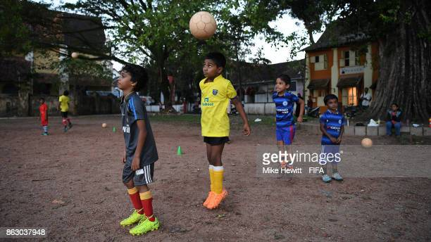 Tomorrow's stars practise their heading in Fort Kochi during the FIFA U17 World Cup India 2017 tournament on October 19 2017 in Kochi India