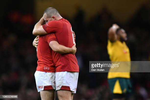 Tomos Williams and Dan Biggar of Wales celebrate on the final whistle following the International Friendly match between Wales and Australia at...