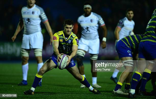 Tomos WIlliams of Cardiff Blues attempts to clear the ball during the European Rugby Challenge Cup match between Cardiff Blues and Toulouse at...
