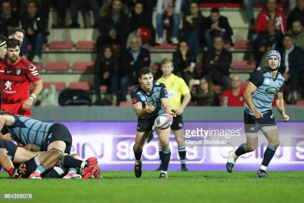 Tomos Williams of Cardiff Blues during the European Challenge Cup match between Stade Toulousain and Cardiff Blues at Stade Ernest Wallon on October...