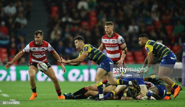 Tomos Williams of Cardiff Blues passes the ball from the scrum during the European Rugby Challenge Cup Final match between Cardiff Blues and...