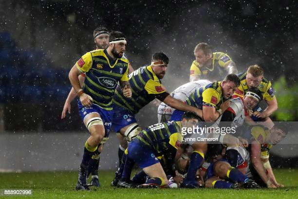 Tomos Williams of Cardiff Blues plays the ball out of a scrum during The European Rugby Challenge Cup match on December 9 2017 in Salford United...