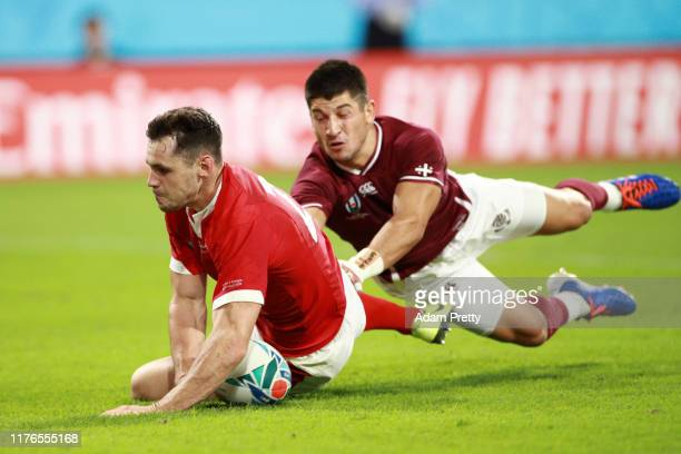 Tomos Williams of Wales scores his sides fifth try during the Rugby World Cup 2019 Group D game between Wales and Georgia at City of Toyota Stadium...