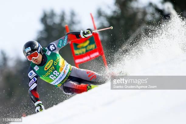 Tomoya Ishii of Japan competes during the Audi FIS Alpine Ski World Cup Men's Giant Slalom on March 9 2019 in Kranjska Gora Slovenia