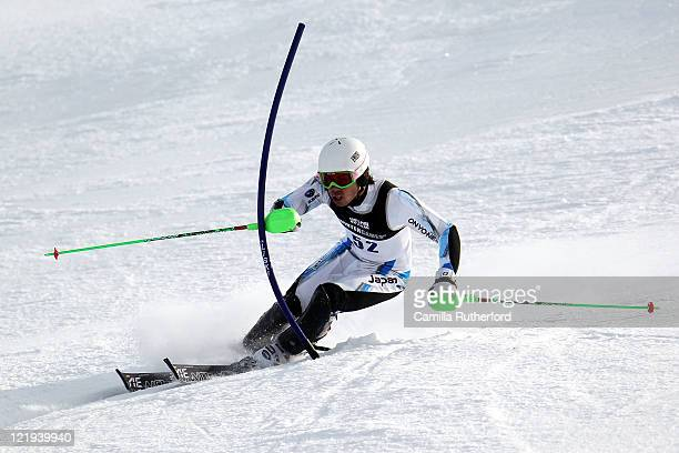 Tomoya Ishii of Japan competes in the Mens Slalom run one during day 12 of the Winter Games NZ at Coronet Peak on August 24 2011 in Queenstown New...