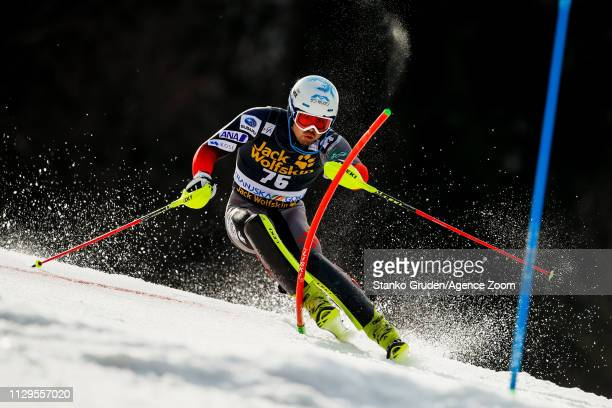 Tomoya Ishii of Japan in action during the Audi FIS Alpine Ski World Cup Men's Slalom on March 10 2019 in Kranjska Gora Slovenia