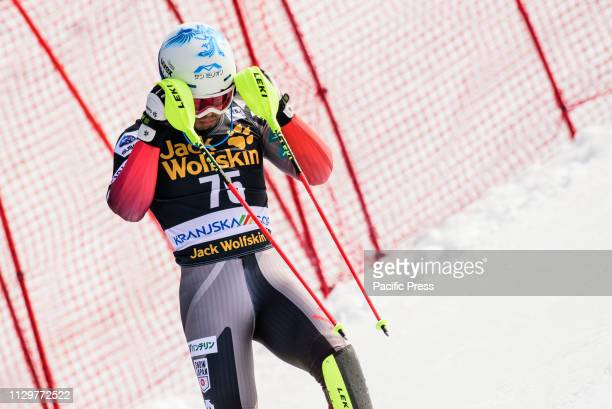 Tomoya Ishii of Japan in action during the Slalom race at the Audi FIS Ski World Cup Vitranc