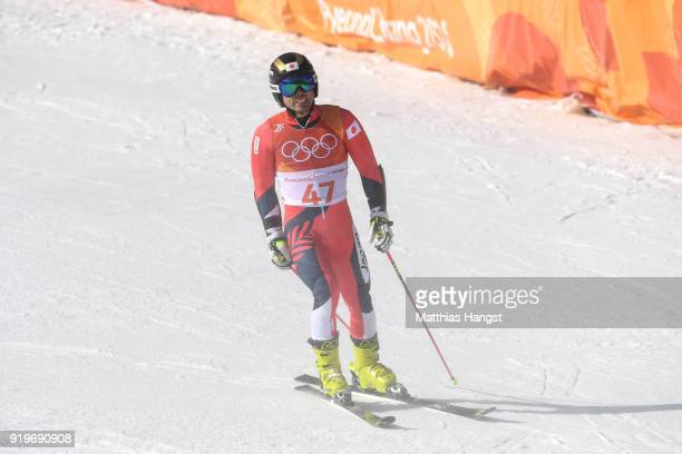 Tomoya Ishii of Japan reacts at the finish during the Alpine Skiing Men's Giant Slalom on day nine of the PyeongChang 2018 Winter Olympic Games at...