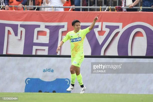 Tomoya MIKI of JEF United Chiba celebrates scoring his side's first goal during the J.League Meiji Yasuda J2 match between Omiya Ardija and JEF...