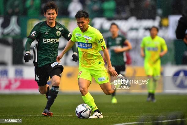 Tomoya MIKI of JEF United Chiba in action during the J.League Meiji Yasuda J2 match between Matsumoto Yamaga and JEF United Chiba at Sunpro Alwin on...
