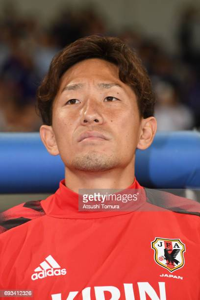 Tomoya Ugajin of Japan looks on during the international friendly match between Japan and Syria at Tokyo Stadium on June 7, 2017 in Chofu, Tokyo,...